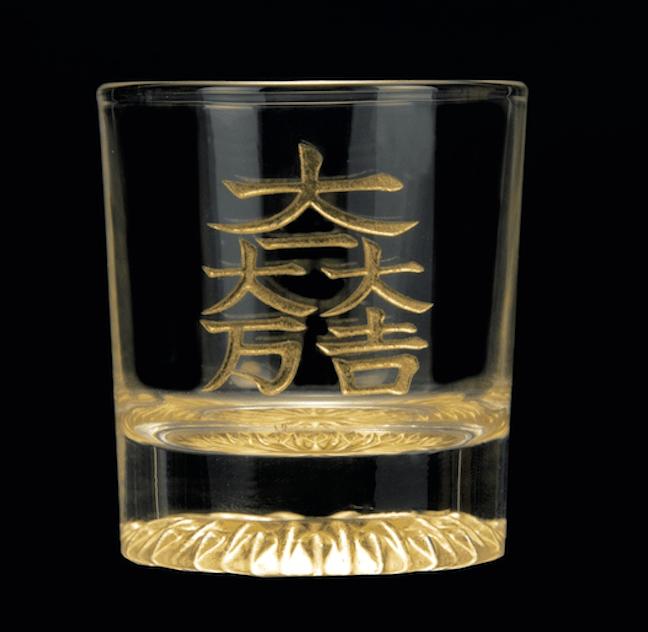 本金箔・黄金のロックグラス(6武将 家紋・文様入り)